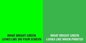 A swatch of green showing the difference between the screen and final output print.
