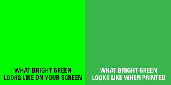 A Swatch Of Green Showing The Difference Between Screen And Final Output Print