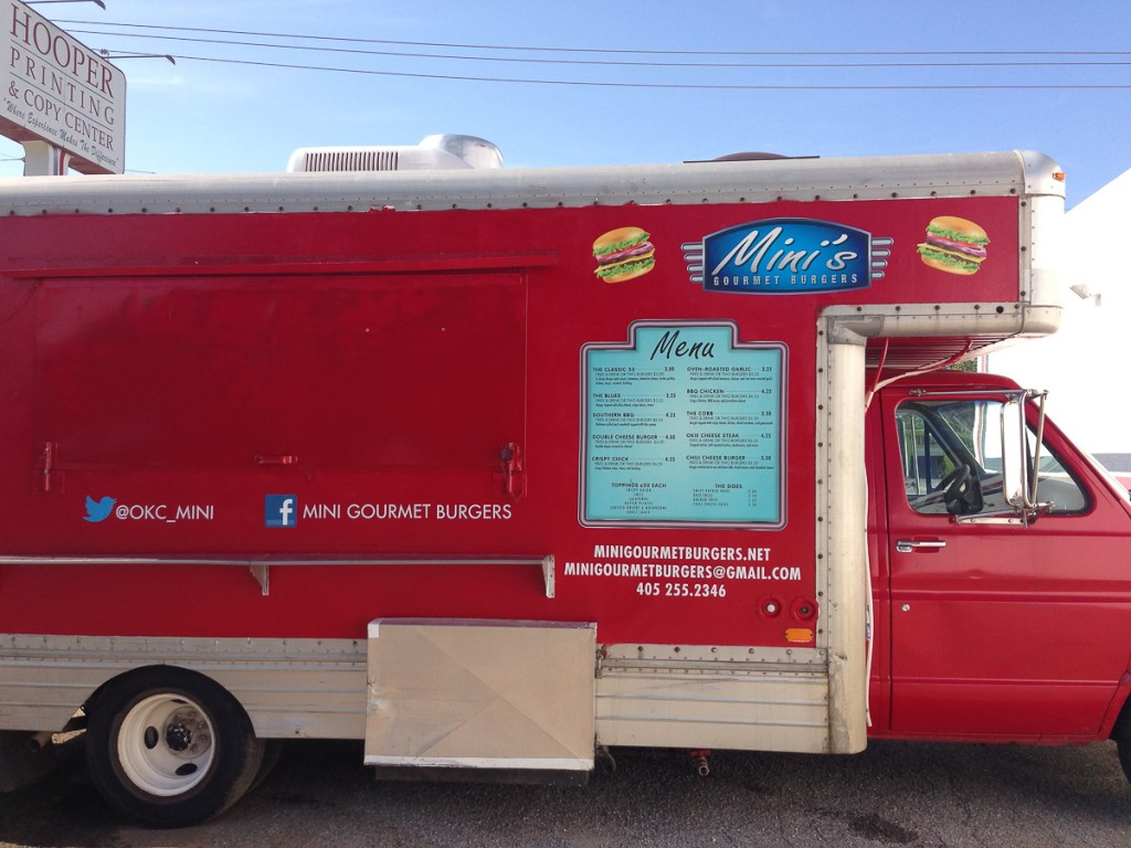 Custom wrap graphics on a red food truck