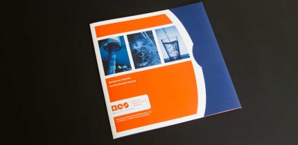 A blue and orange custom pocket folder