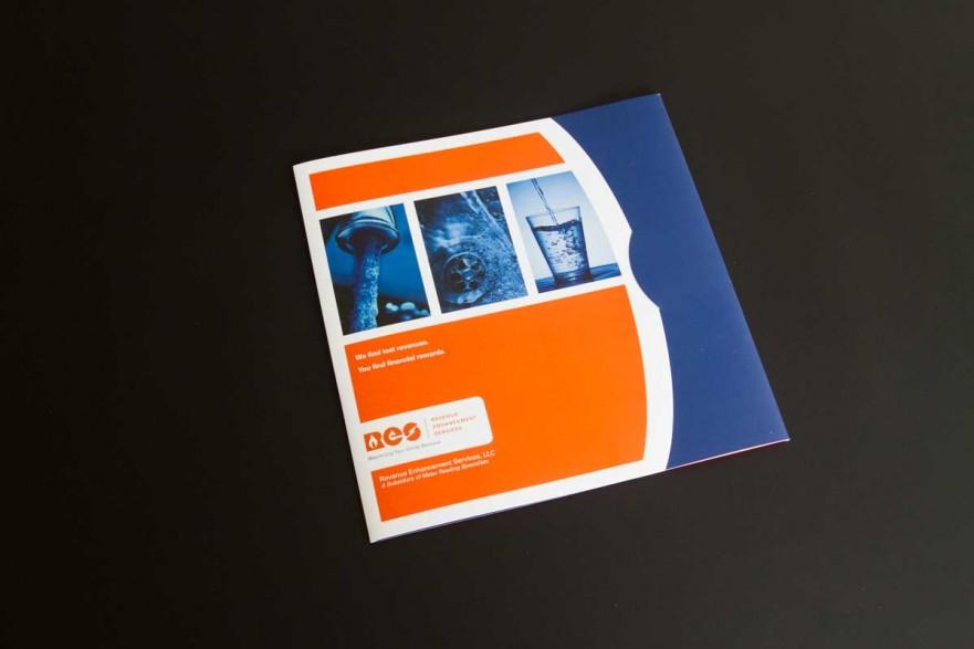 A blue and orange custom pocket folder
