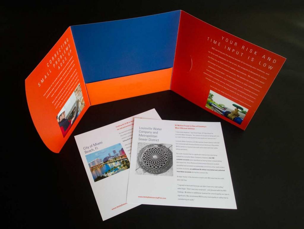 A Blue and orange pocket folder with inserts